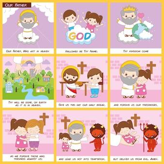 Oración del padre nuestro con ilustraciones cristianas y sermones.