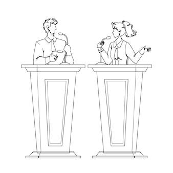 Orador discutiendo con oponente en tribune