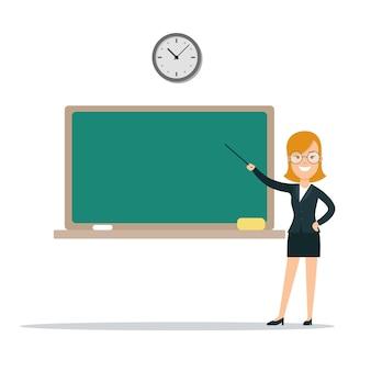 Orador de maestra de escuela femenina sonriente joven plana que muestra a bordo ilustración vectorial educación kno