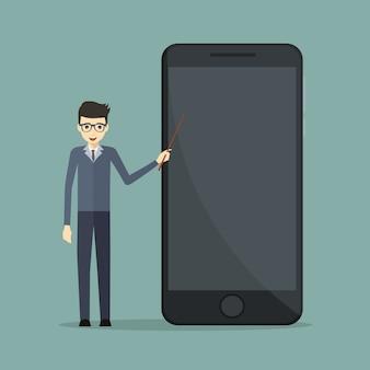 Orador de negocios en tecnología móvil apuntando a un teléfono celular
