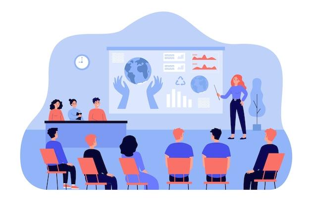 Orador de pie delante de la presentación