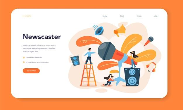 Orador profesional, banner web de comentarista o página de destino