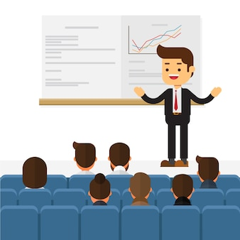 Orador de seminario de negocios haciendo presentación
