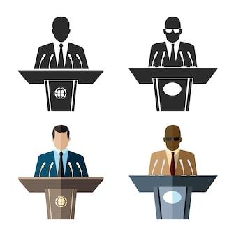 Oradores u oradores ambientados en estilo plano