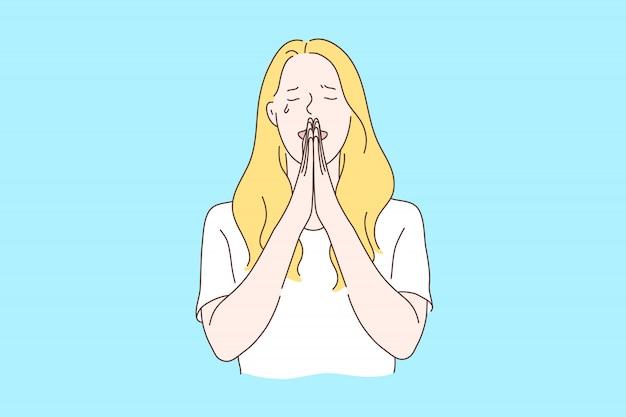 Orando, pidiendo el concepto de ayuda de dios