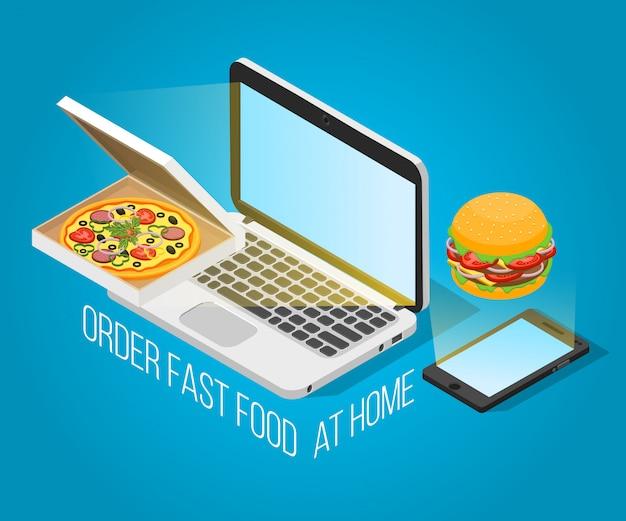 Orden de comida rápida en casa concepto isométrico