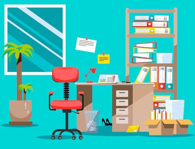 Orden en el escritorio. pila de documentos en papel y carpetas de archivos en cajas de cartón en los estantes. ilustración plana ventanas, silla y cesto de basura
