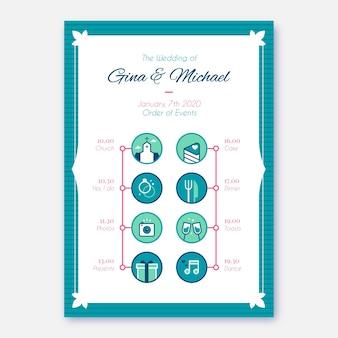 Orden de eventos para una boda en estilo lineal