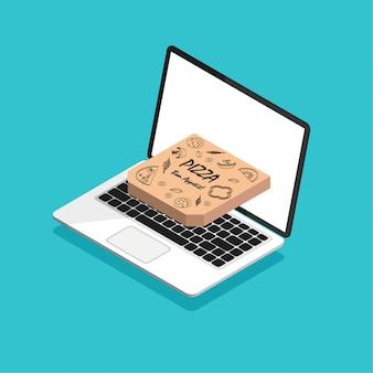 Orden de pizza en línea y concepto de entrega. ordene comida rápida en línea. portátil isométrica con pizza en una caja.