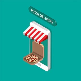 Orden de pizza en línea y concepto de entrega. ordene comida rápida en línea. smartphone isométrico gigante con pizza en una caja.