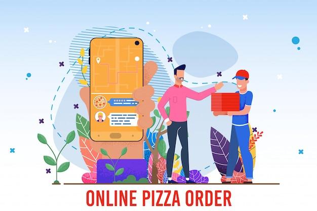 Orden de pizza en línea servicio en línea anuncio plano