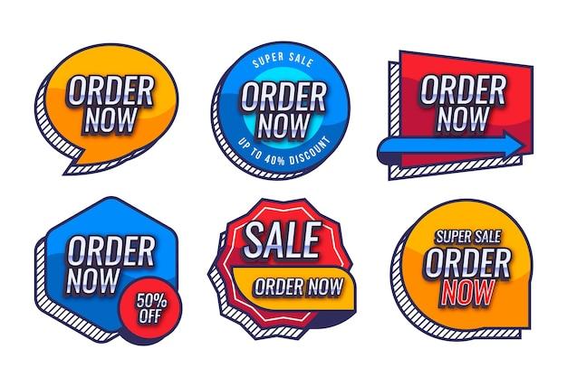 Orden promocional ahora colección de etiquetas