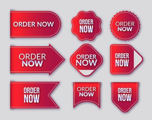 Orden promocional ahora conjunto de etiquetas