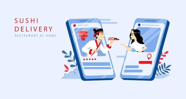 Orden de sushi en línea y concepto de entrega.