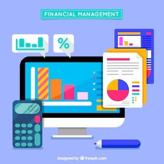 Ordenador y calculadora con gráficos financieros