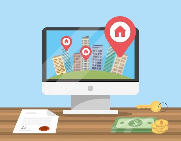 Ordenador con edificio de apartamentos mapa ubicación y documento
