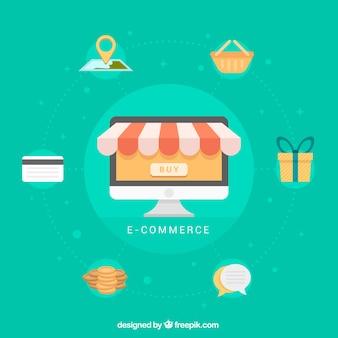 Ordenador con elementos de compra online en diseño plano