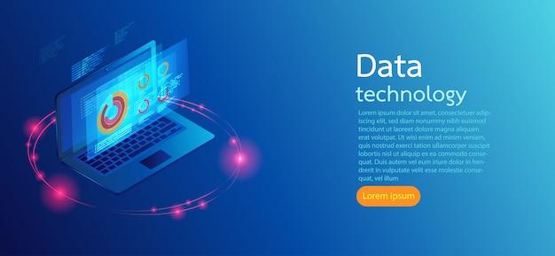El ordenador en fondo azul defiende infographic moderno.