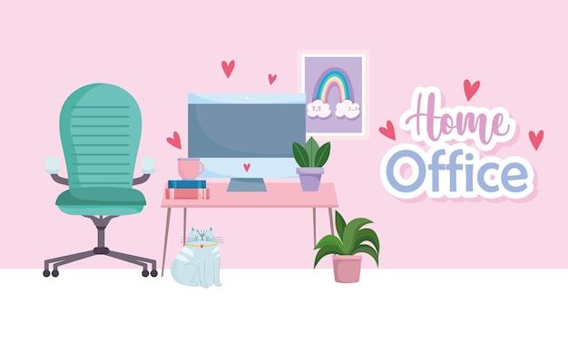 Ordenador de oficina en casa lugar de trabajo en silla de escritorio libros plantas dibujo en pared.