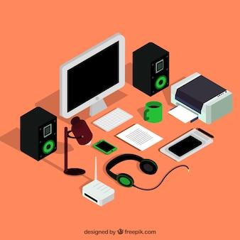 Ordenador y otros dispositivos electrónicos isométricos