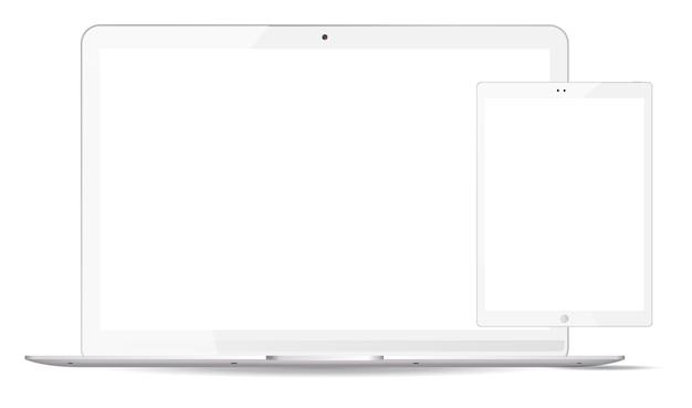 Ordenador portátil blanco, tablet pc maqueta conjunto. dispositivos móviles