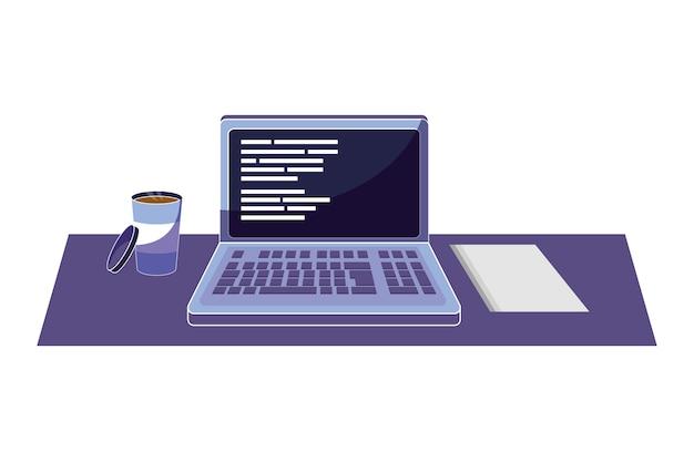 Ordenador portátil con código de programación y café con papel.