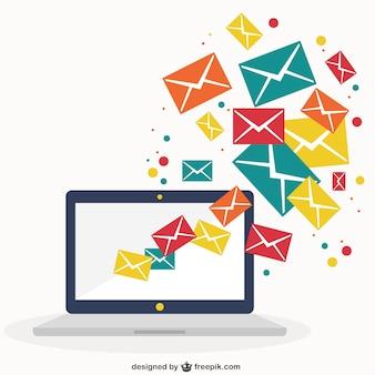 Ordenador portátil con mensajes de correo electrónico
