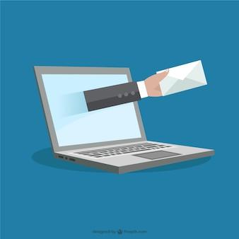 Ordenador portátil y concepto de correo electrónico