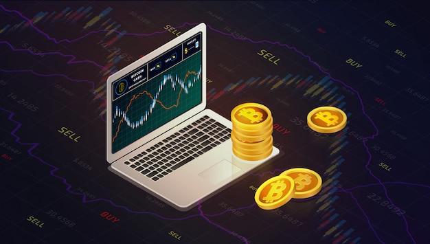 Ordenador portátil con el concepto isométrico de las monedas del efectivo del bitcoin de la carta del efectivo del bitcoin. gráfico de negocios con