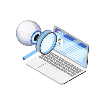 Ordenador portátil con datos personales que se miran concepto isométrico en blanco