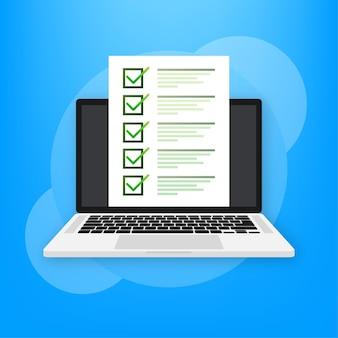 Ordenador portátil con examen en línea en verde