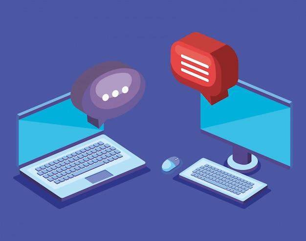 Ordenador portátil con globo de diálogo
