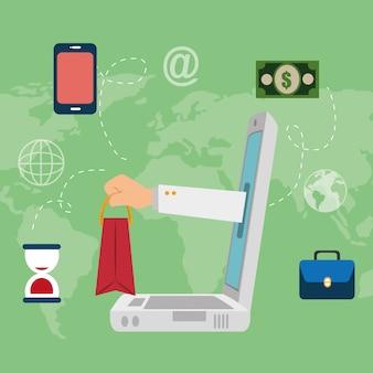Ordenador portátil con iconos de comercio electrónico