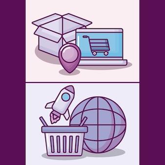 Ordenador portátil con iconos de negocios electrónicos