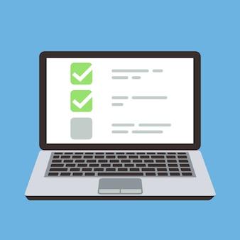 Ordenador portátil con lista de verificación de formulario de prueba en línea en la pantalla. concepto de dibujos animados vector elección y encuesta. ilustración de la lista de verificación de computadora en línea, elección y lista de exámenes
