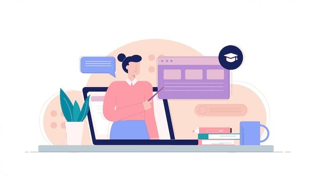 Ordenador portátil con maestra de dibujos animados apuntando en la ilustración del sitio web de infografía de banner