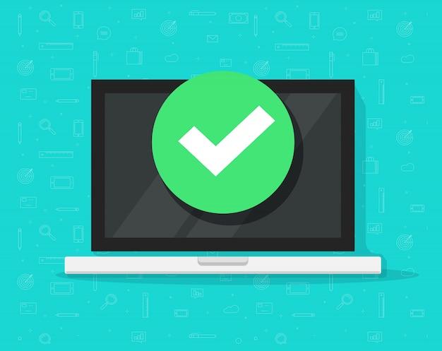 Ordenador portátil con marca de verificación o aviso de marca