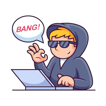 Ordenador portátil operativo hacker. ilustración de icono. concepto de icono de tecnología de ciencia aislado