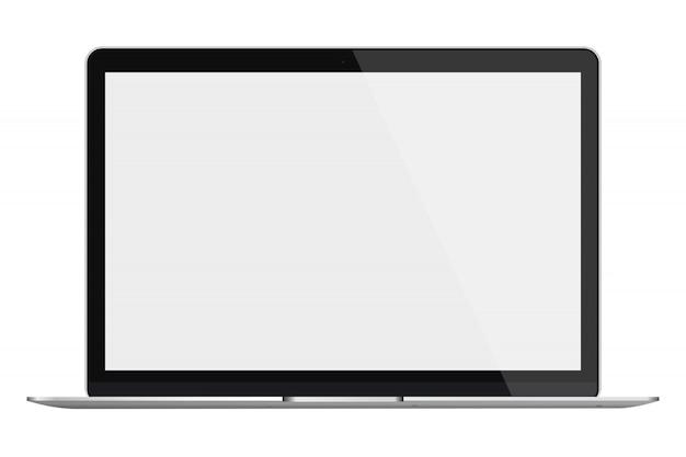 Ordenador portátil con pantalla en blanco aislado en fondo blanco.