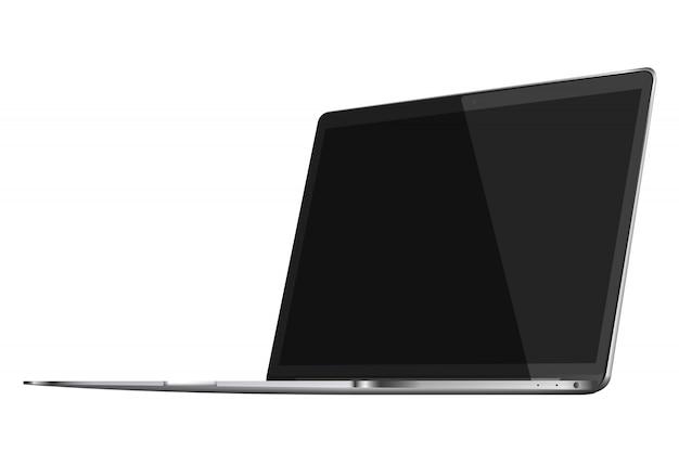 Ordenador portátil con pantalla en negro sobre fondo blanco.