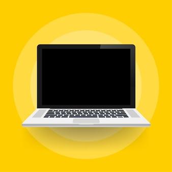 Ordenador portátil con pantalla vacía en estilo plano.