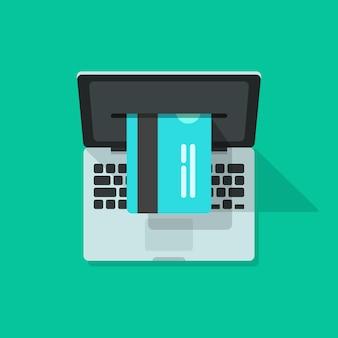 Ordenador portátil con procesamiento de tarjetas bancarias en verde