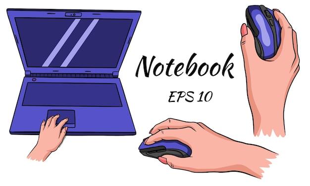 Ordenador portátil. ratón para la computadora en mano. para trabajos domésticos y de oficina.