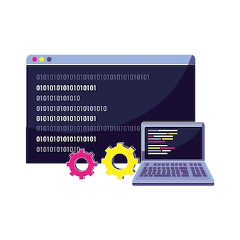 Ordenador portátil y sitio web con código de programa de datos