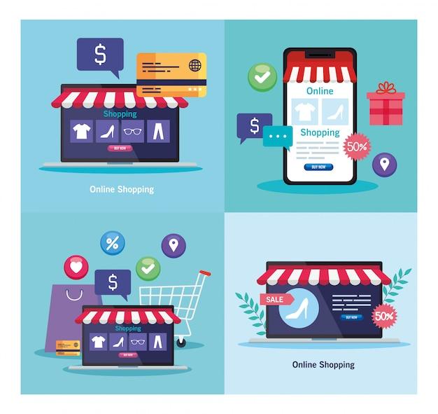 Ordenadores portátiles y teléfonos inteligentes con carpa y tarjeta de crédito del mercado minorista de compras en línea y comprar ilustración temática