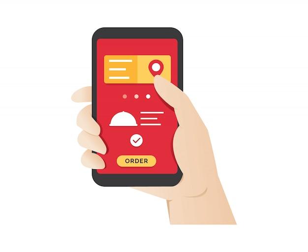 Ordenar comida usando la aplicación móvil en línea