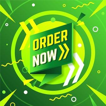 Ordene ahora banner en tonos verdes y amarillos