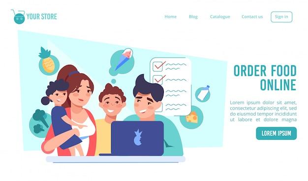Ordene alimentos en línea en la página de inicio del mercado de internet