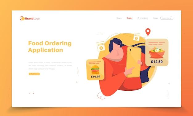 Ordene comida en línea en la página de destino