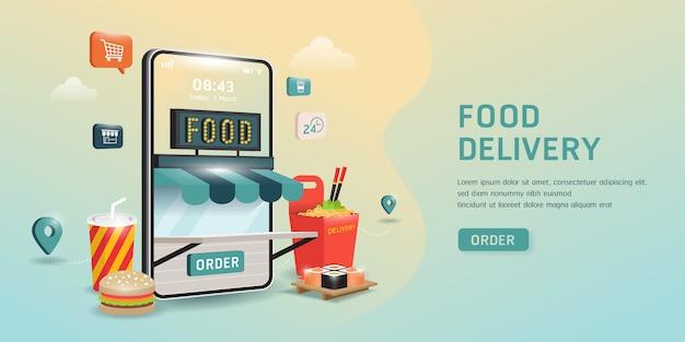 Ordene comida en un teléfono inteligente.